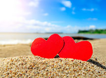 Сердца на Seashore Стоковое фото RF