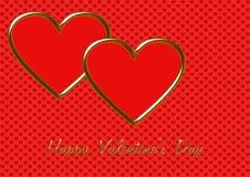 2 сердца обрамленных золотом красных Стоковое Изображение