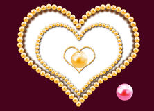 3 сердца от жемчугов Стоковое Фото