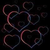 Сердца покрашенной клокоча валентинки Стоковое Изображение RF
