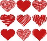 Сердца покрашенные иллюстрацией Стоковое Изображение RF
