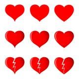 Сердца (простой, затененный и сломанный) в 3 различных формах иллюстрация вектора