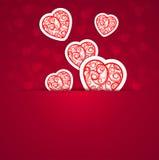 Сердца с абстрактным орнаментом против с bokeh иллюстрация штока