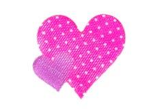 2 сердца сделанного из ткани Стоковая Фотография RF