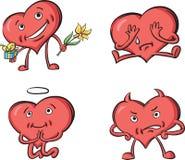 Сердца с различными эмоциями иллюстрация вектора