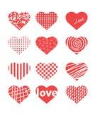 Сердца темы дня валентинки различные иллюстрация вектора