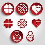 Сердца установили логотип Стоковые Фотографии RF