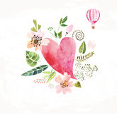 Сердца, цветки и ленты Стоковое Фото