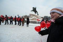Сердца шариков старта в центре города Стоковая Фотография RF