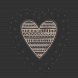 Сердца эскиза с орнаментом Нарисованный рукой милый день валентинок поздравительной открытки иллюстрация вектора