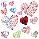 Сердца Clipart в различных формах и расцветках Стоковое Изображение