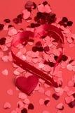 сердца confetti красные Стоковая Фотография