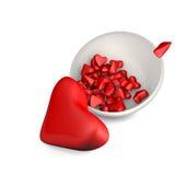 сердца 3d в плите на белой предпосылке Стоковые Изображения RF