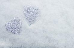 Сердца glas в снеге Стоковое Изображение RF