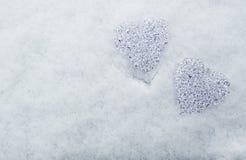 Сердца glas в снеге Стоковые Фотографии RF