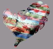 Сердце, абстрактная текстура в цветах голубого красного цвета оранжевых зеленых Стоковые Изображения