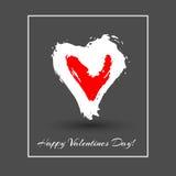 Сердце акварели вектора Валентайн дня приветствуя счастливое s карточки Стоковое Фото