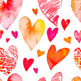 Сердце акварели вектор Валентайн иллюстрации дня пар любящий вектор картина безшовная Стоковое Фото