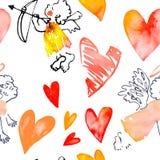 Сердце акварели День Valentinine вектор Картина с сердцами и купидонами вектор Стоковое фото RF
