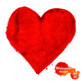 Сердце акварели изолированное на белизне Стоковое Фото