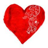 Сердце акварели изолированное на белизне Стоковое Изображение RF