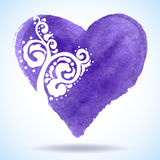 Сердце акварели изолированное на предпосылке. Стоковое Изображение RF