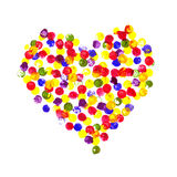 Сердце акварели пестротканое пузырей на белой предпосылке Счастливый день валентинки! Сердце покрашенное акварелью Стоковые Фотографии RF