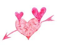 Сердце акварели Стоковое Изображение
