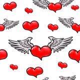 Сердце анимации красное с крылами картина безшовная Стоковое Изображение
