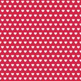 Сердце безшовного запаса белое на красной иллюстрации картины предпосылки Стоковая Фотография RF