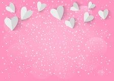 Сердце белой бумаги 3d на розовой предпосылке Вектор EPS 10 Стоковое Изображение