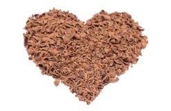 Сердце валентинки заскрежетанного шоколада на белой предпосылке Стоковые Изображения RF