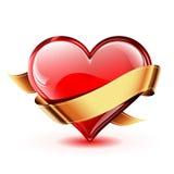 Сердце вектора с золотой лентой иллюстрация штока