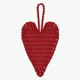Сердце вязания крючком Игрушка рождественской елки Стоковое фото RF