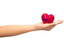 Сердце в изолированных руках Стоковая Фотография RF
