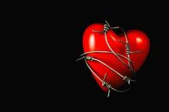 Сердце в колючей проволоке на черноте 2 Стоковая Фотография RF