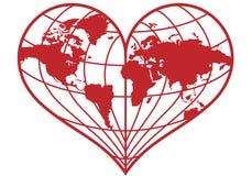 сердце глобуса земли Стоковые Изображения