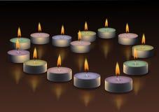 Сердце горящие свечки Стоковые Изображения