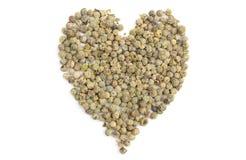 Сердце зеленого перца изолированное на белой предпосылке Стоковые Фото