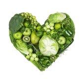 Сердце зеленых фруктов и овощей стоковое фото rf