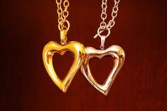 Сердце золота и серебра Стоковые Изображения RF