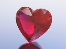 сердце диаманта иллюстрации 3D красное Стоковые Изображения