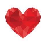 Сердце диаманта - низкое поли сердце Стоковые Изображения