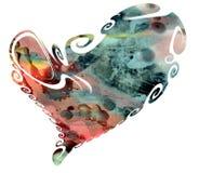 Сердце изолированное в waxy пастельных оттенках акварели Стоковое Фото
