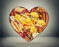 Сердце и плохая концепция риска хода диеты Стоковые Изображения