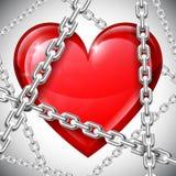 Сердце и цепи Стоковая Фотография