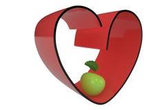 Сердце и яблоко, 3D Иллюстрация штока