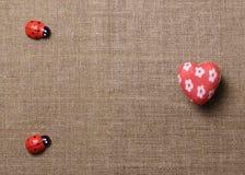 Сердце и ladybug на ткани Стоковое Изображение