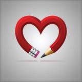Сердце карандаша Стоковая Фотография