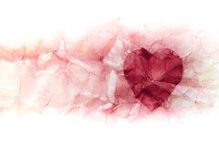 Сердце картины акварели на бумаге Стоковое фото RF